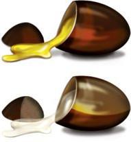 Capsules with yellow ubiquinone and white ubiquinol