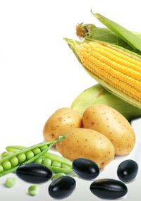 Mais, Kartoffeln, Erbsen und Q10 Green Phytokapseln.